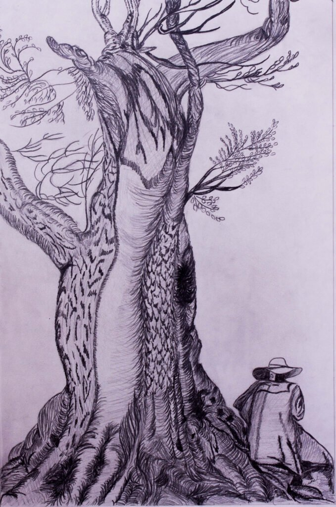 Chestnut Tree with a Man Sitting on the Roots Jacques De Gheyn Grid Drawing