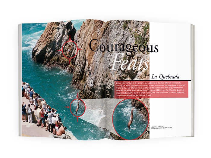 Courageous Feats Spread and Feature Story Editorial Layout